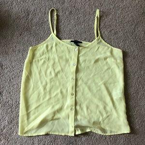 Yellow sheer button up spaghetti strap blouse